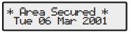 Premier alarm Area secured message