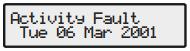Premier alarm Activity fault message
