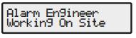 Alarm engineer on site message - Texecom Premier alarm